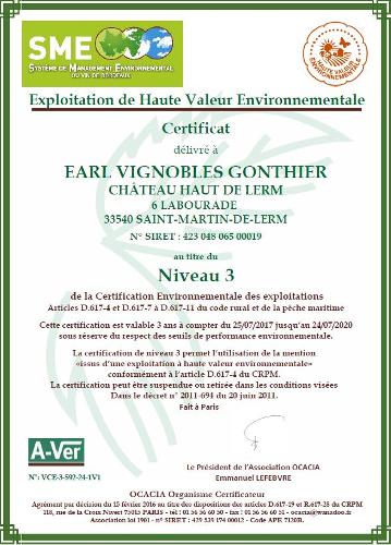 Certification Haute Valeur Environnementale pour château Haut de Lerm Vignobles Gonthier