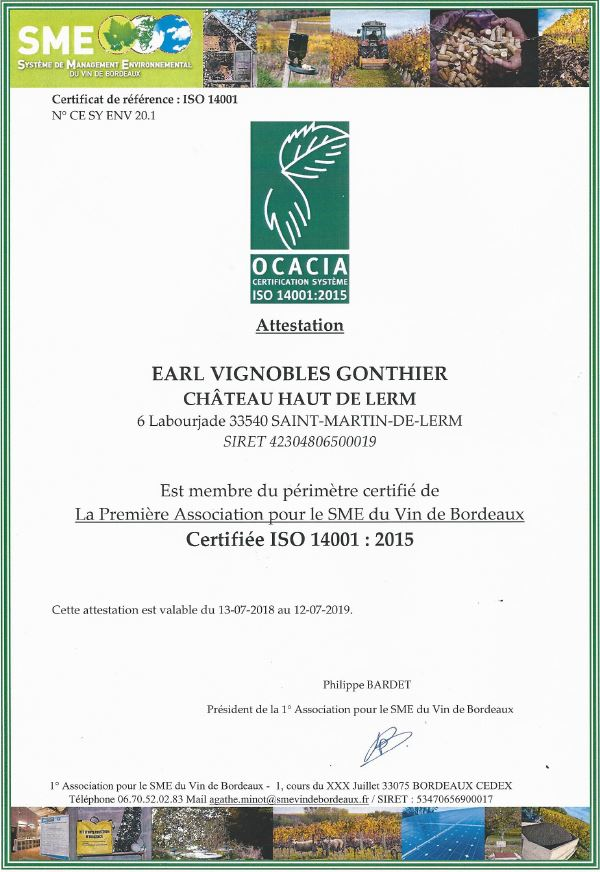 Certification ISO 14001 2015 pour château Haut de Lerm Vignobles Gonthier